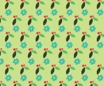 Fabric Freedom Camping - 4256 - Modern Floral Print, Aqua on Light Green - FF94-3 - Cotton Fabric